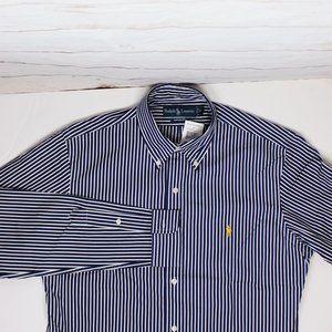 Ralph Lauren Striped Button Down Navy Shirt Medium